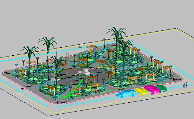 3d Theme Park Landscaping Details Dwg File