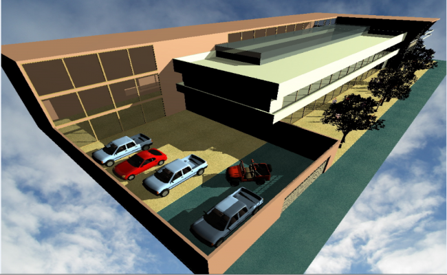 3d top view design of corporate office building dwg file
