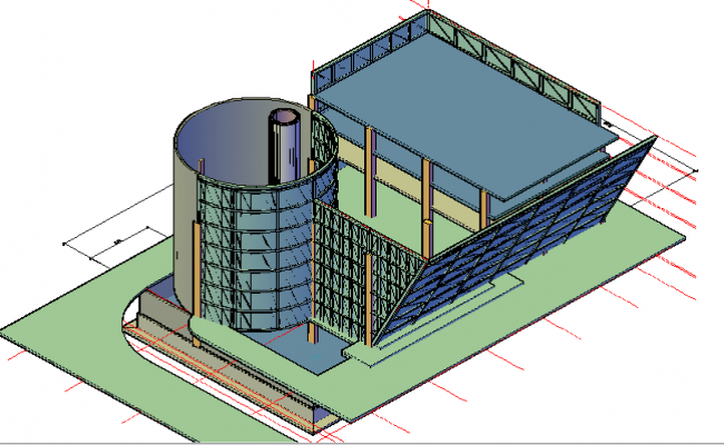 3d top view design of multi-story glazed office building dwg file