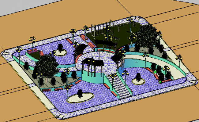 3d Top View Design Of Public City Garden Details Dwg File