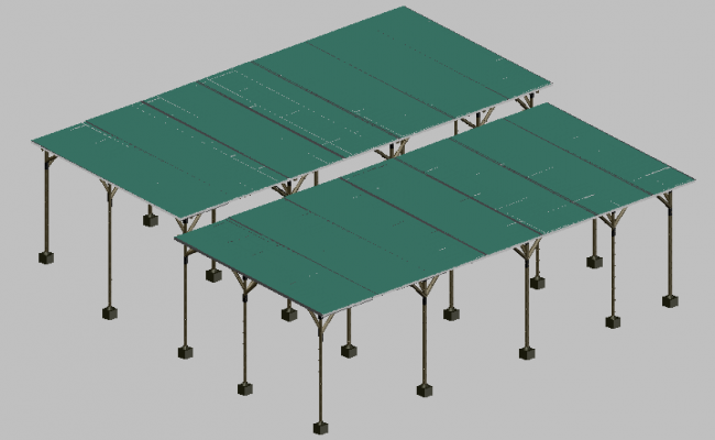 3d view Bamboo structure supports detail view dwg file