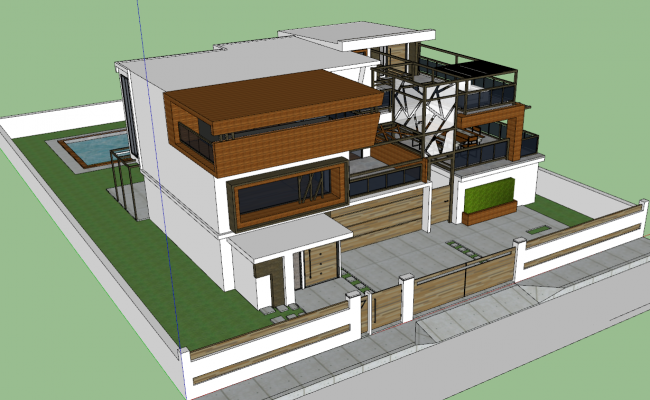 3d view of Bungalow skp file