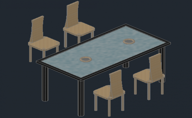 3d view of a table and chair