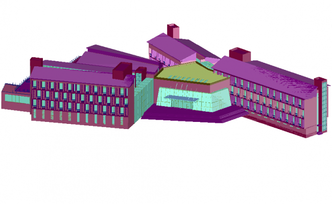 3d view of apartment house dwg file