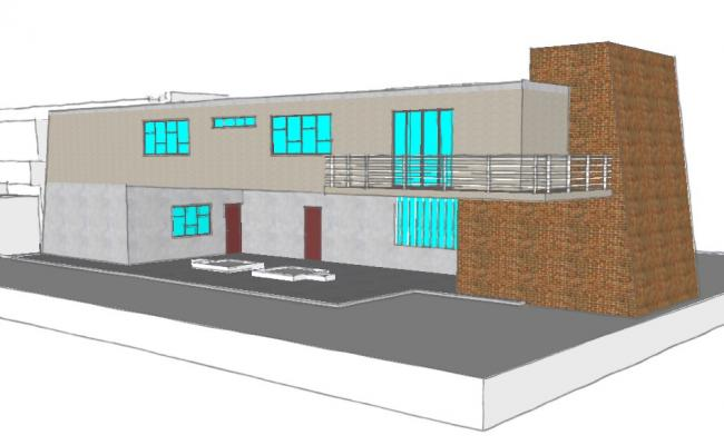 3d view of bungalow.  view of bungalow or villa showing glass window, balconay,etc.