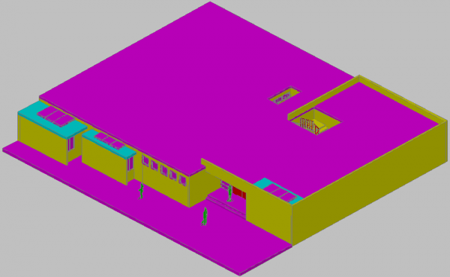 3d view of commercial building detail dwg file