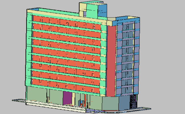 3d view of commercial building dwg file