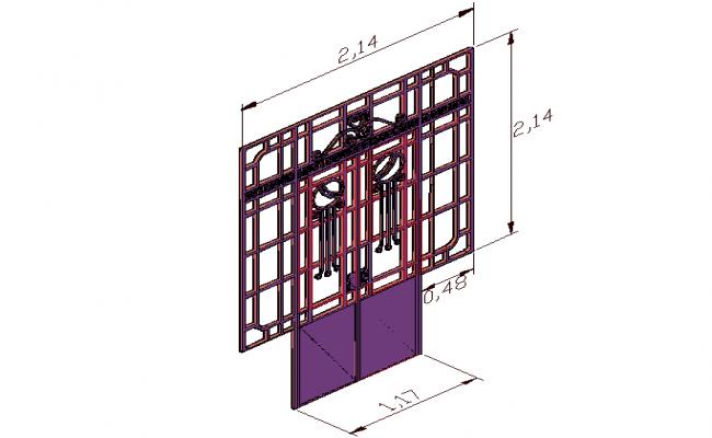 3d view of door in front position