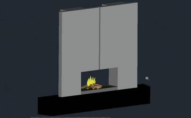 3d view of fire placed stove