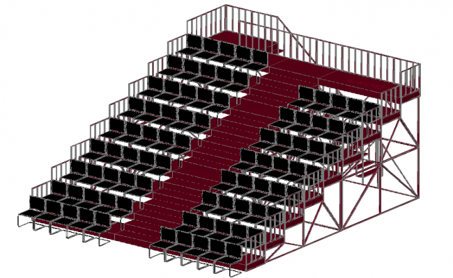 3d view of grandstand design dwg file