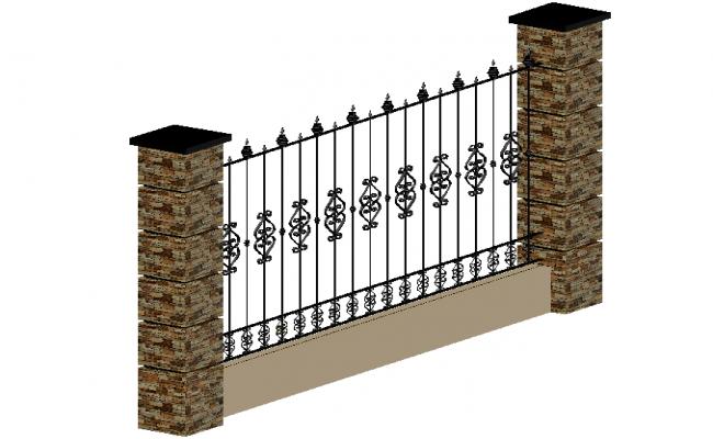 3d view of grill door with column design