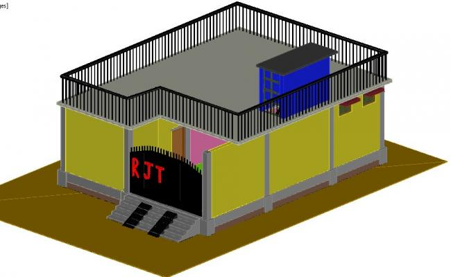 3d view of house dwg file,