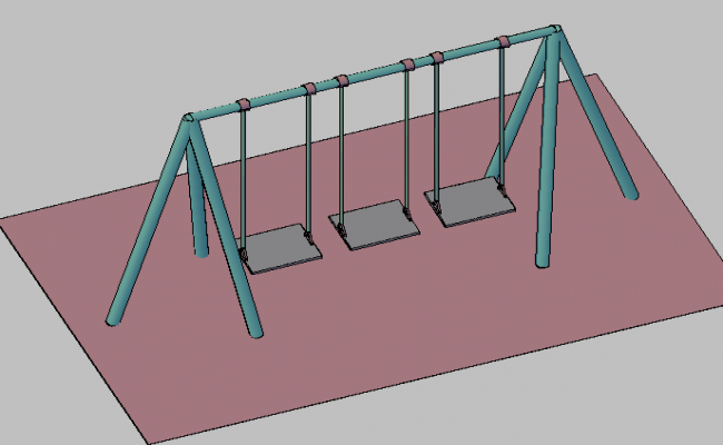 3d view of kids outdoor playing equipment dwg file