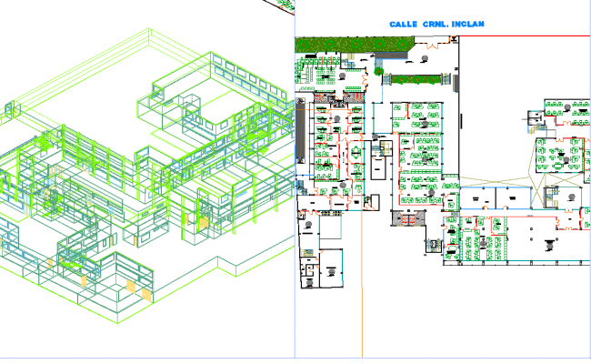 3d view of municipal building dwg file