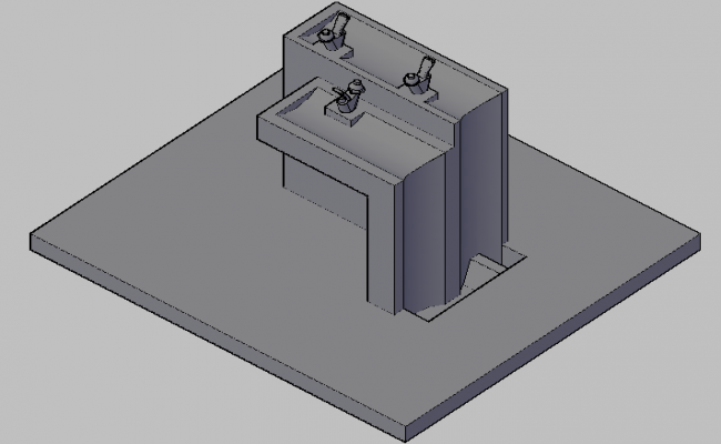 3d view of wash basin detail dwg file