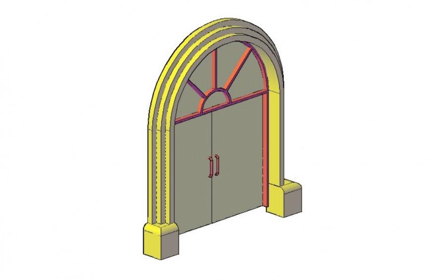 3d arch shape door design drawings autocad software file