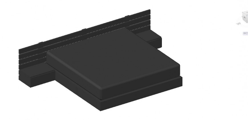 3d bed with leather material foam detail dwg file