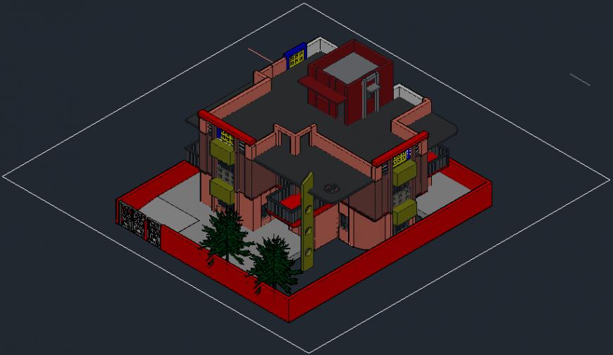 3d bungalow project autocad file