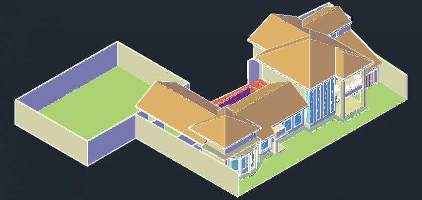 3d bungalows in auto cad file