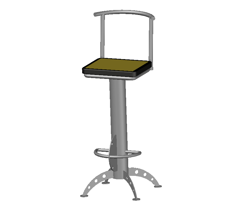 3d cad drawing of bar chair auto cad software