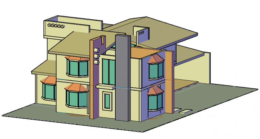 3d CAD drawings details of residential bungalow autocad file