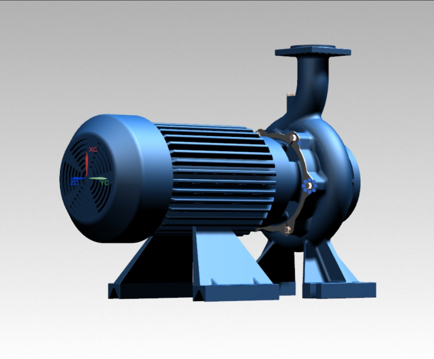 3d close coupled centrifugal water pumps design cad block details dwg file