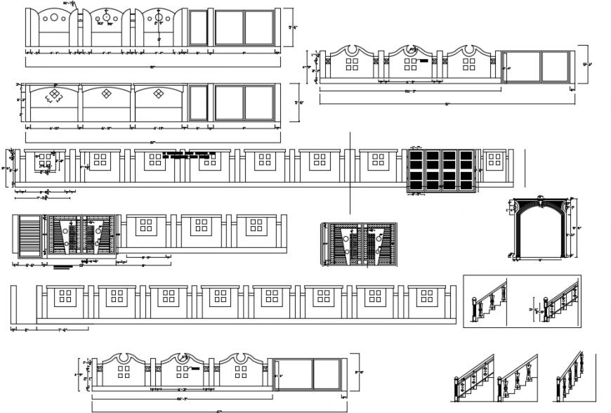 3d Compound Wall side elevation design autocad file