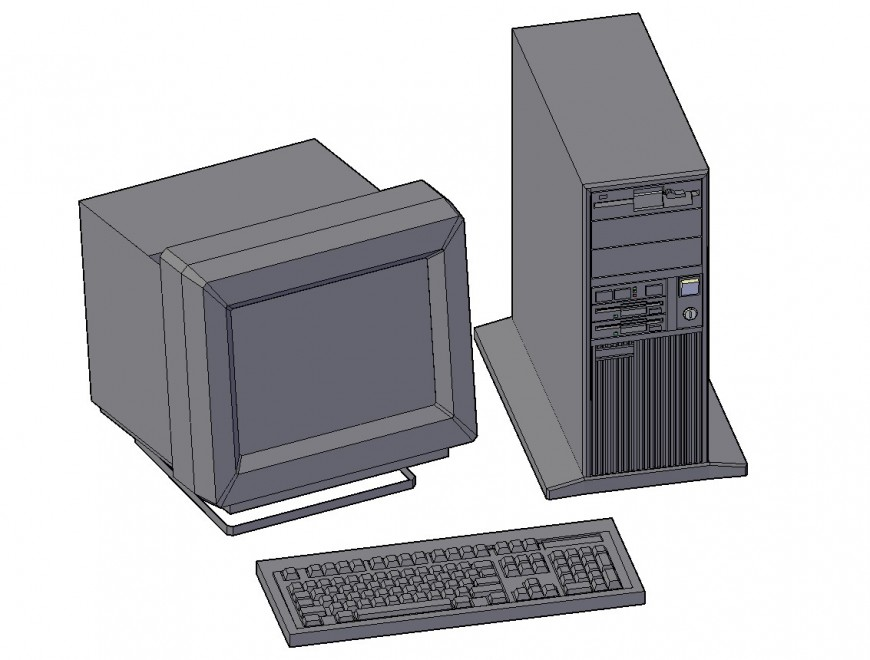 3d computer with cpu cad block details dwg file