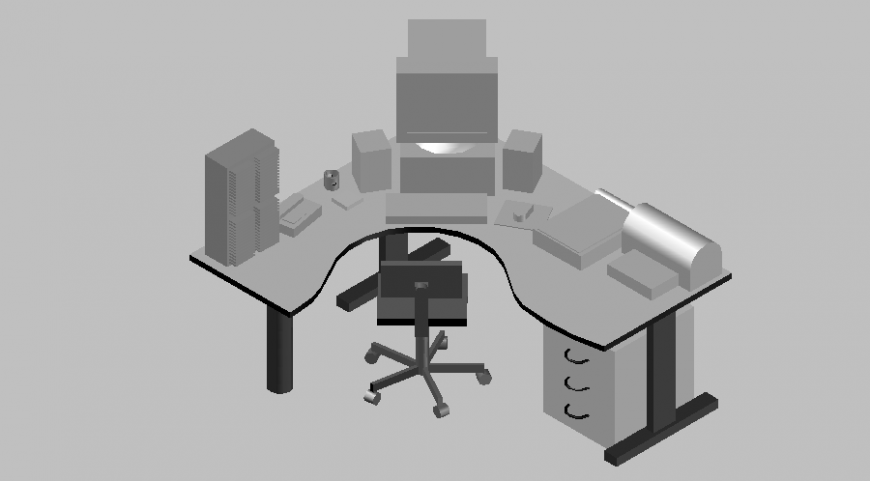 3d design of curved chair with chair with table design dwg file
