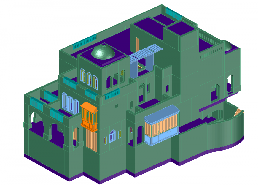 3d detail drawing of villa in dwg file.