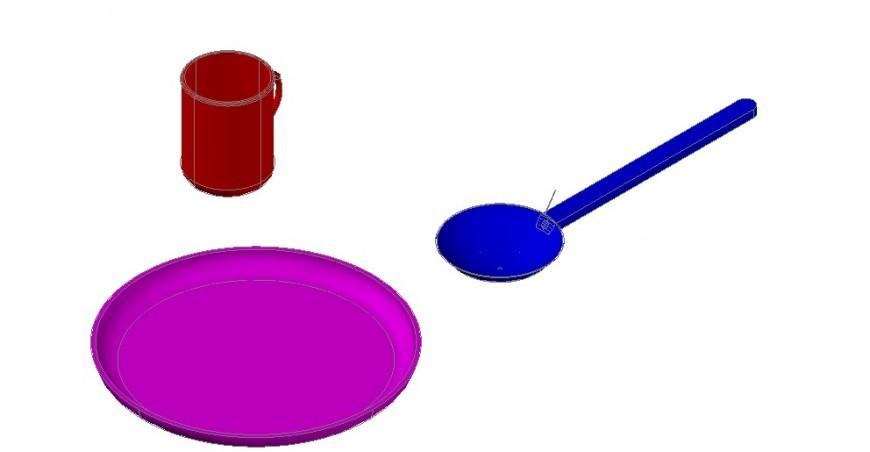 3D detailing of kitchen utensils block details
