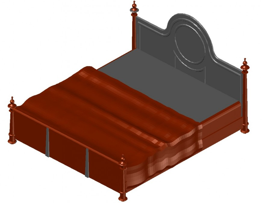 3d double bed cad file