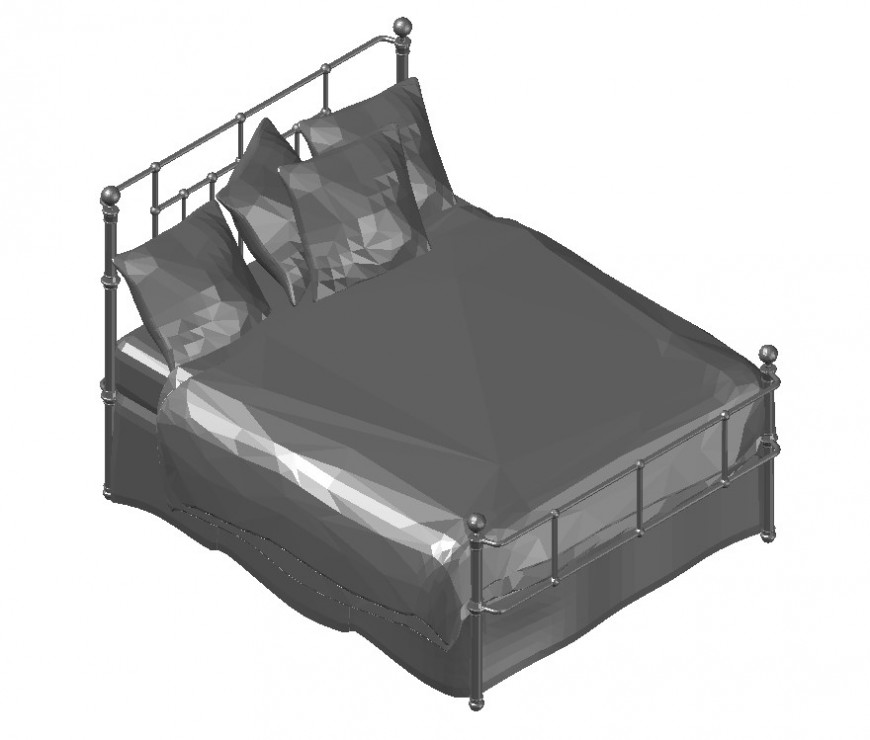 3d double bed CAD furniture block layout file in autocad format