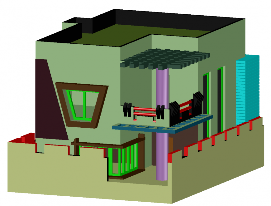 3d drawing , elevation of house in dwg file.