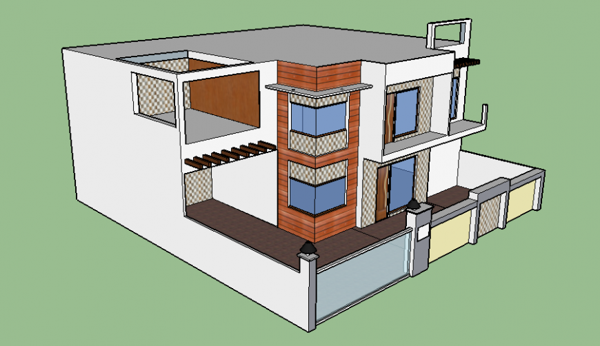 3d drawing of bungalow in skp file.