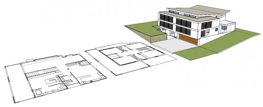 3d drawing of bungalow with all side view in skp file.