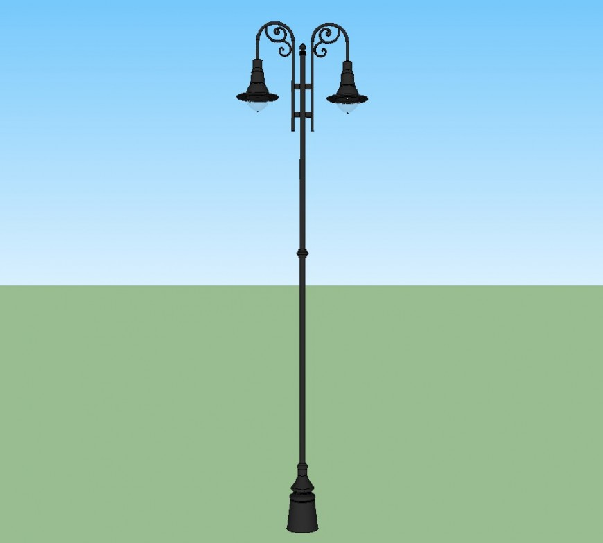 3d drawing of decorative light pole in skp file.