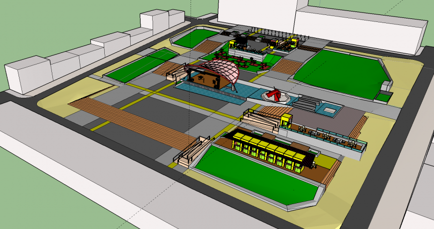 3d drawing of garden and food court in skp file.
