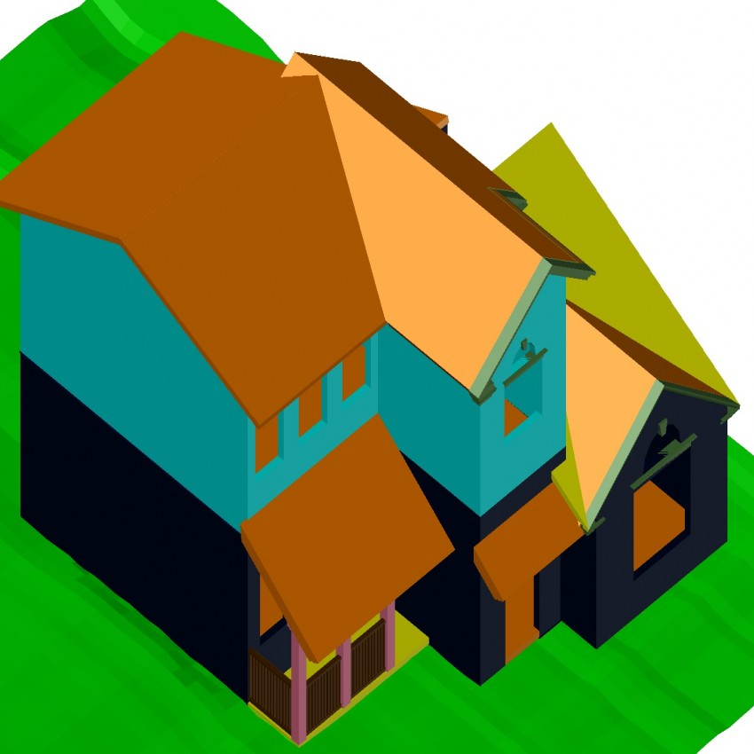 3d drawing of house in dwg file.
