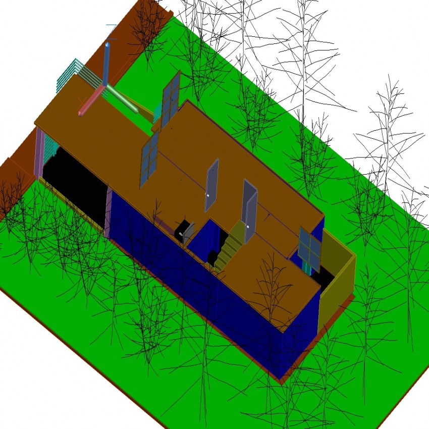 3d drawing of house in plan dwg file.
