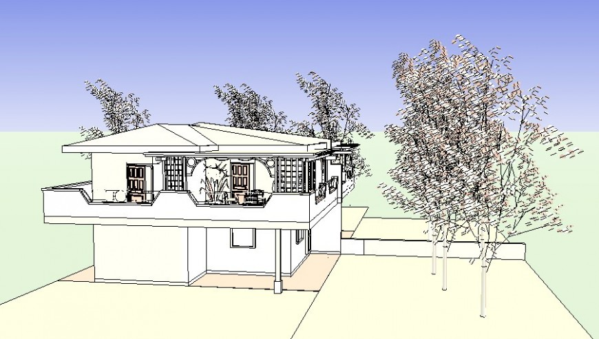 3d drawing of house in skp file.