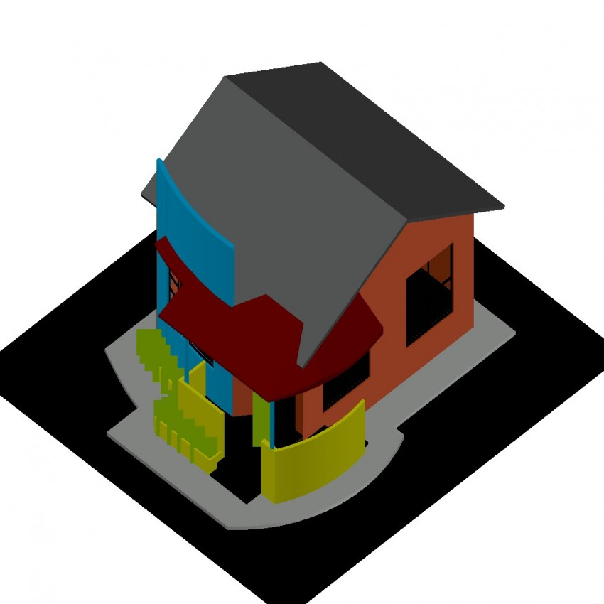 3d drawing of house with detail in dwg file.