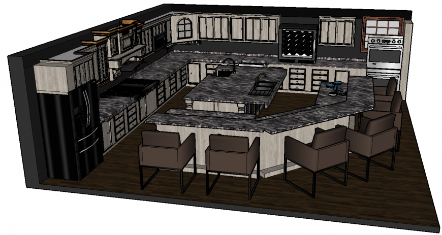 3d drawing of kitchen in skp file.