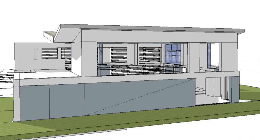 3d drawing of of house with back side view in skp file.