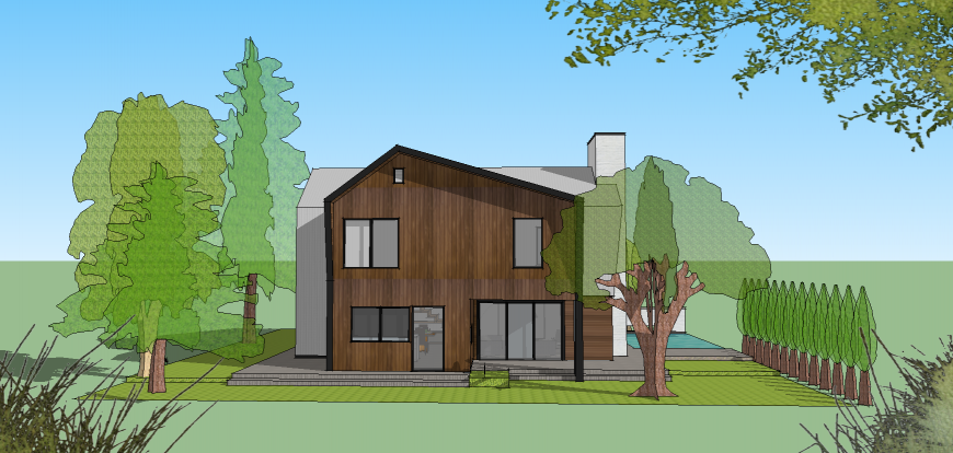 3d drawing of single family house in skp file.