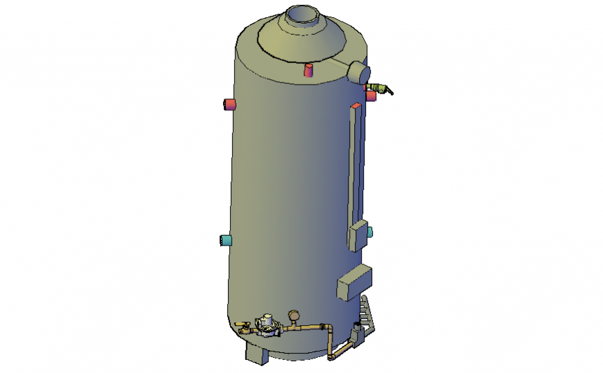 3d drawing of water heater drawing in dwg file.