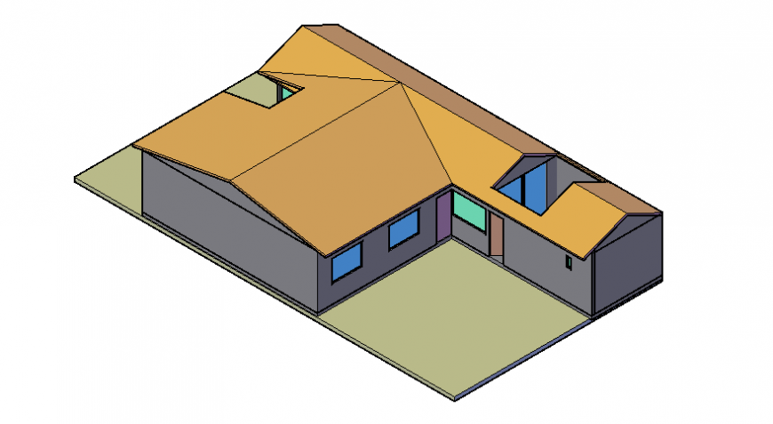 3d drawings details of single story house autocad file