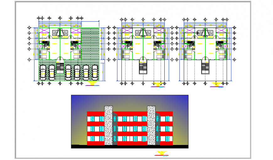 3D elevation design of  Housing Complex design drawing