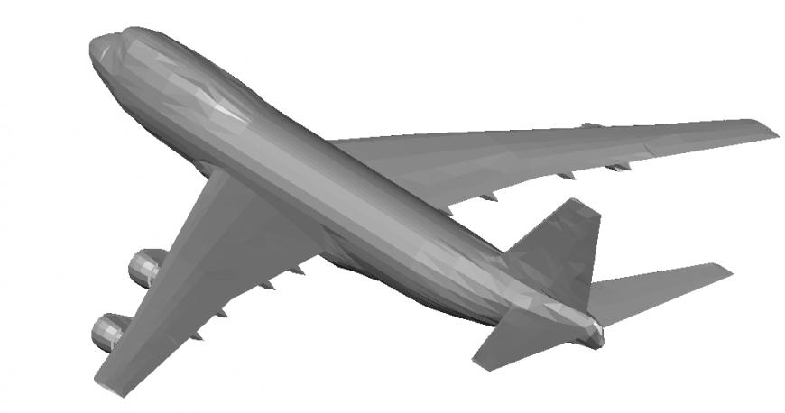 3D elevation model of aeroplane dwg file