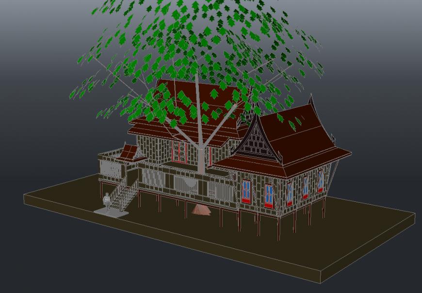 3D Farm House Elevation Detail